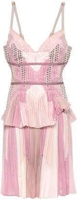 Herve Leger Jacquard-trimmed Pleated Color-block Voile Mini Dress