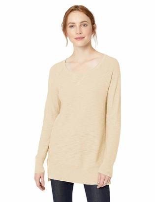 Daily Ritual Amazon Brand Women's Lightweight Open-Crewneck Raglan Tunic Pullover Sweater