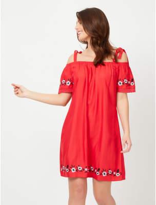 George Embroidered Cold Shoulder Dress