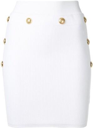 Balmain Gold-Tone Button Detail Knit Skirt