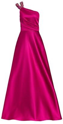 Pamella Roland One-Shoulder Beaded Neckline Gown