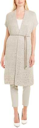 Lafayette 148 New York Long Belted Silk & Linen-Blend Vest