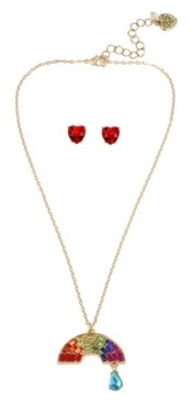 "Betsey Johnson Rainbow Pendant Necklace Stud Earrings Set in Gold-tone Metal, Necklace 16"" + 3"" Extender and Earring 0.4"""