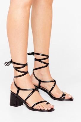 Nasty Gal Womens Let's Get Back Toe-gether Croc Heeled Sandals - Black - 7, Black