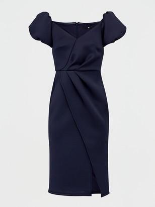 Very Bardot Scuba Wrap Front Midi Dress - Navy