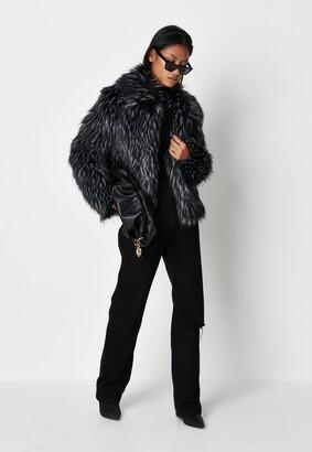 Missguided Premium Black Tipped Faux Fur Coat
