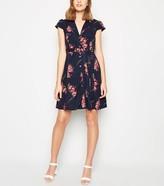 New Look Mela Floral Cap Sleeve Shirt Dress