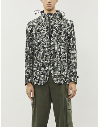 Fendi Brand-pattern single-breasted woven blazer