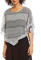 I.N. Studio Geo Print Scoop Neck V-Hem Top