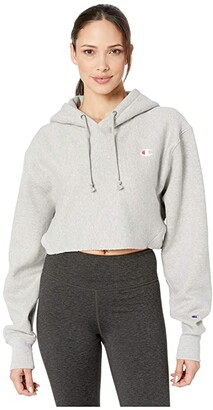 Champion Reverse Weave(r) Cropped Hoodie Fit (Oxford Gray) Women's Clothing