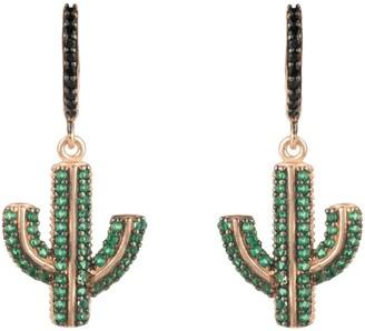 Rosegold Cactus Drop Earring Green