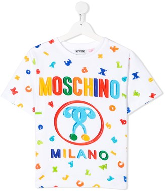 MOSCHINO BAMBINO crew neck alphabet print T-shirt