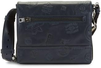 Bally Tamrac Embossed Leather Messenger Bag