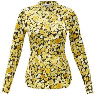 Ganni Floral-print Fitted Silk-blend Blouse - Yellow Print