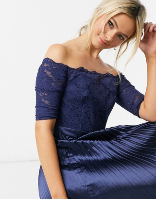 Chi Chi London lace & satin bardot midi dress in navy
