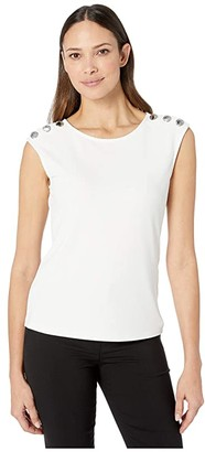 Calvin Klein Sleeveless Top with Buttons on Shoulder (Soft White) Women's T Shirt
