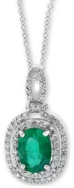"""Effy Emerald (1-1/8 ct t.w.) & Diamond (1/4 ct. t.w.) 18"""" Pendant Necklace in 14k White Gold"""