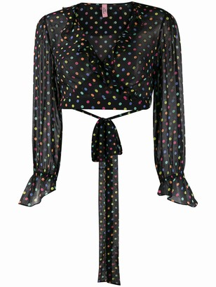 Agent Provocateur Sheer Polka Dot Print Blouse