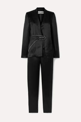 Off-White Off White Layered Satin-twill Jumpsuit - Black