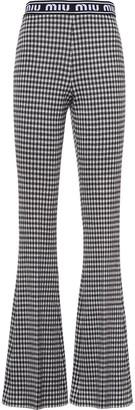 Miu Miu Gingham Check Flared Trousers