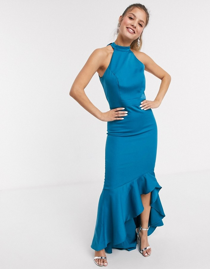 Chi Chi London Chi Chi Afton high neck fitted maxi dress with frill hem in teal