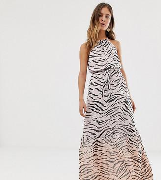 New Look tie waist animal dress in pink pattern