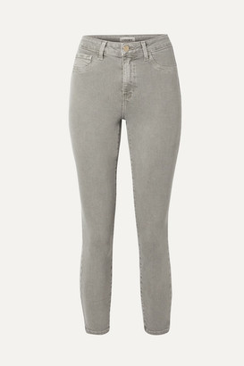 L'Agence Margot Cropped High-rise Skinny Jeans - Gray