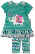 Rare Editions Baby Girls' 2-Pc. Elephant Top & Leggings Set