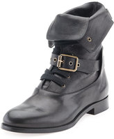 Chloé Otto Lace-Up Buckle Ankle Boot, Black
