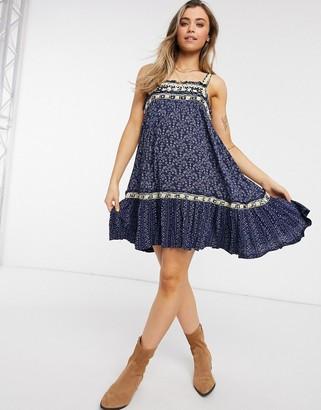 Free People boarderline printed dress in blue