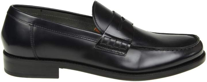 Doucal's Leather Moccasin Color Dark Blue