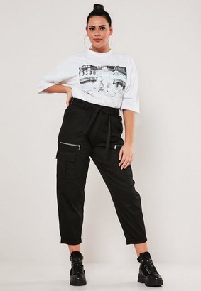 Missguided Plus Size Black Paperbag Waist Cargo Pants