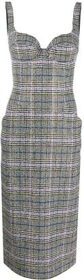 Ermanno Scervino Plaid Bustier Midi Dress