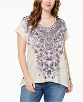 Style&Co. Style & Co Plus Size Printed Asymmetrical-Hem T-Shirt, Created for Macy's