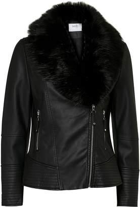 Wallis PETITE Black Faux Fur Biker Jacket