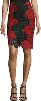 Alice + Olivia Farrel Floral-Lace Pencil Skirt, Black/Red
