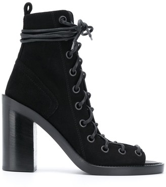 Ann Demeulemeester Lace-Up Open-Toe Boots