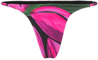 Louisa Ballou High Cut Floral Print Bikini Bottoms