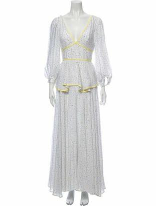 STAUD Printed Long Dress White