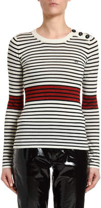 No.21 No. 21 Striped Long-Sleeve Top with Button Details