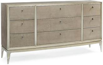 Caracole Kapono Dresser - Silver Leaf frame, silver leaf/taupe; hardware, silver