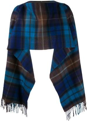 Comme des Garçons Shirt Check Pattern Wool Scarf