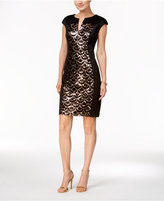 Connected Petite Sequined-Panel Sheath Dress