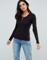 Only Rib Lace Up Chest Long Sleeved Top