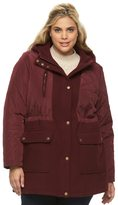 Apt. 9 Plus Size Hooded Quilted Wool Blend Anorak Jacket
