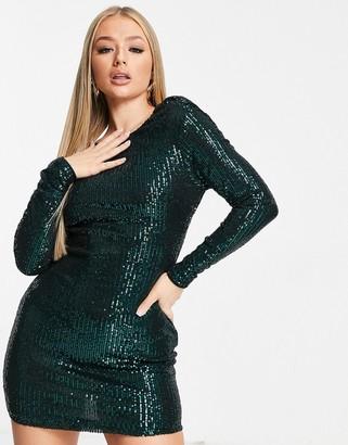 Club L London Club L sequin mini dress with deep cowl back in emerald green