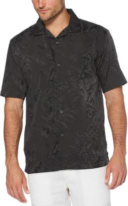 Cubavera Camp Collar Floral and Leaf Jacquard Shirt