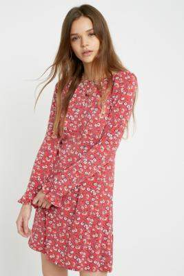 Free People Say Hello Floral Mini Dress - red XS at Urban Outfitters