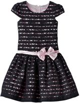 Nannette Girls 4-6x Floral Lace Burnout Stripe Dress