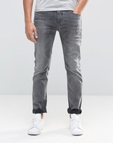 Selected Homme Washed Grey Jeans With Stretch In Slim Fit